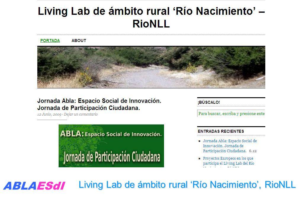 Living Lab de ámbito rural Río Nacimiento, RioNLL ABLAESdI