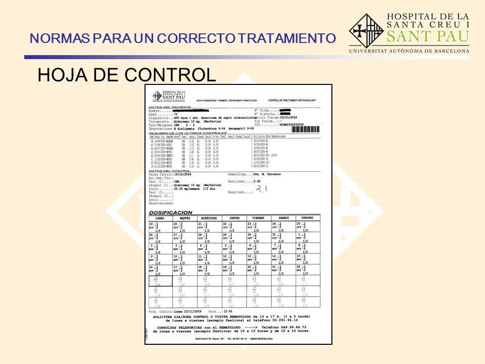 NORMAS PARA UN CORRECTO TRATAMIENTO HOJA DE CONTROL