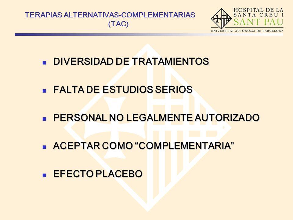 TERAPIAS ALTERNATIVAS-COMPLEMENTARIAS (TAC) DIVERSIDAD DE TRATAMIENTOS DIVERSIDAD DE TRATAMIENTOS FALTA DE ESTUDIOS SERIOS FALTA DE ESTUDIOS SERIOS PE