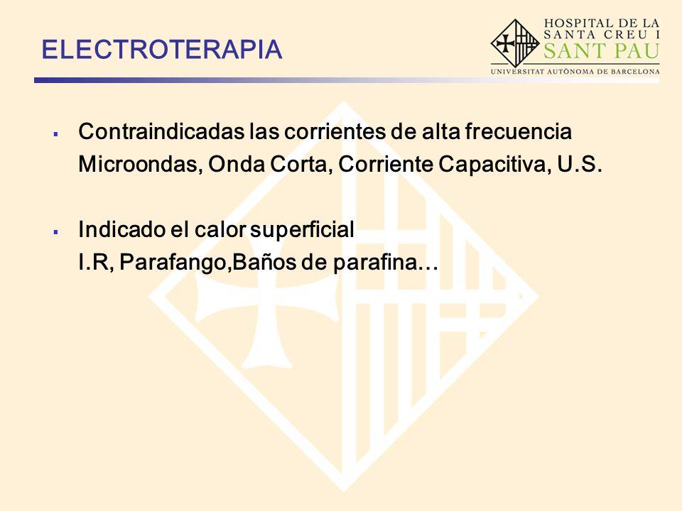 ELECTROTERAPIA Contraindicadas las corrientes de alta frecuencia Microondas, Onda Corta, Corriente Capacitiva, U.S. Indicado el calor superficial I.R,