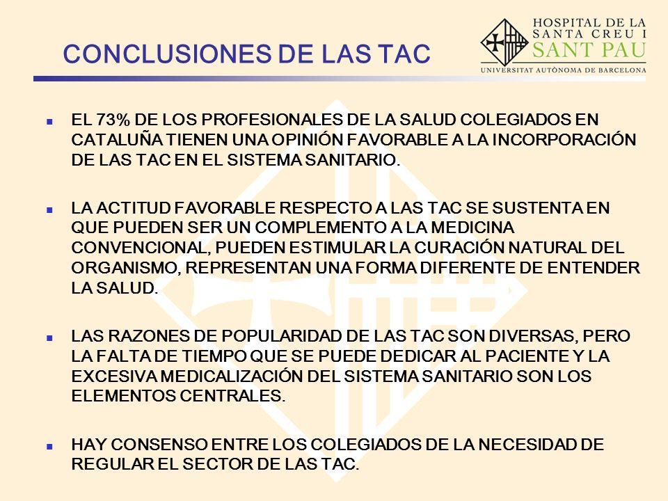 CONCLUSIONES DE LAS TAC EL 73% DE LOS PROFESIONALES DE LA SALUD COLEGIADOS EN CATALUÑA TIENEN UNA OPINIÓN FAVORABLE A LA INCORPORACIÓN DE LAS TAC EN E