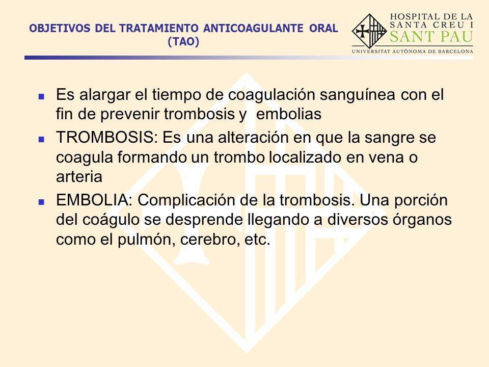 OBJETIVOS DEL TRATAMIENTO ANTICOAGULANTE ORAL (TAO) Es alargar el tiempo de coagulación sanguínea con el fin de prevenir trombosis y embolias TROMBOSI