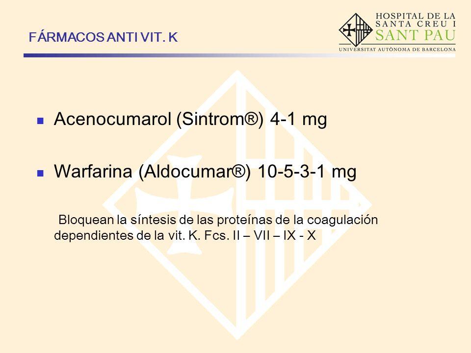 FÁRMACOS ANTI VIT. K Acenocumarol (Sintrom®) 4-1 mg Warfarina (Aldocumar®) 10-5-3-1 mg Bloquean la síntesis de las proteínas de la coagulación dependi