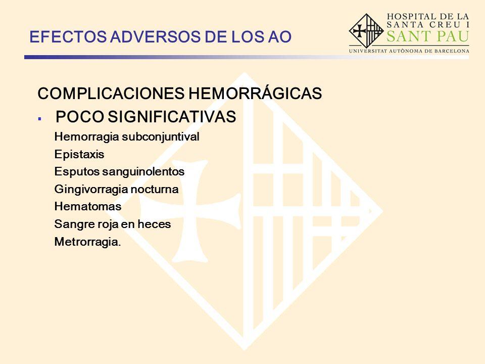 EFECTOS ADVERSOS DE LOS AO COMPLICACIONES HEMORRÁGICAS Que obligan a acudir al control Epistaxis recidivante Gingivorragia recidivante Hematomas espontáneos Esputos hemoptoicos Hematuria