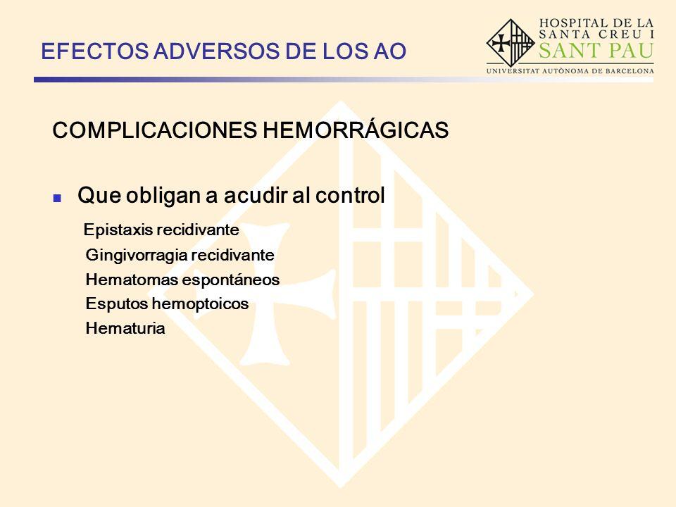 EFECTOS ADVERSOS DE LOS AO COMPLICACIONES HEMORRÁGICAS Que obligan a acudir al control Epistaxis recidivante Gingivorragia recidivante Hematomas espon