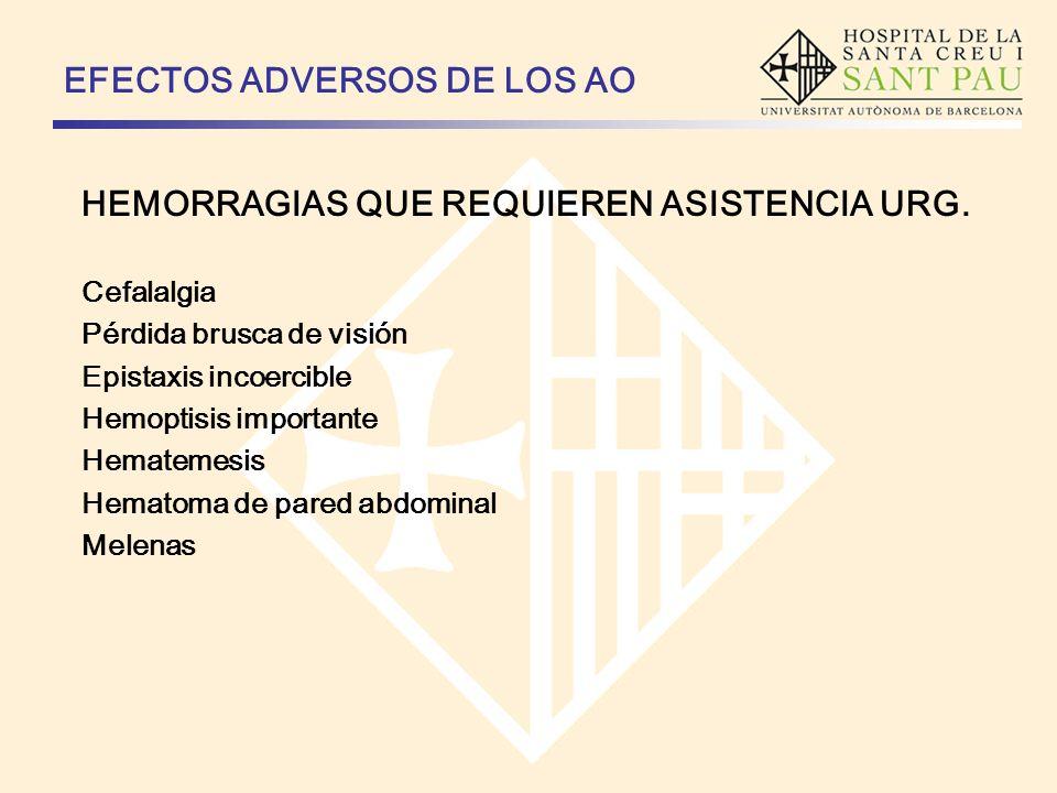 EFECTOS ADVERSOS DE LOS AO HEMORRAGIAS QUE REQUIEREN ASISTENCIA URG. Cefalalgia Pérdida brusca de visión Epistaxis incoercible Hemoptisis importante H