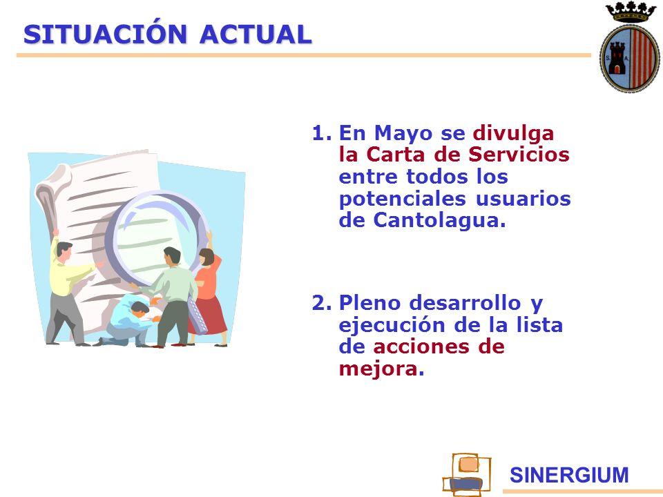SINERGIUM SITUACIÓN ACTUAL 1.En Mayo se divulga la Carta de Servicios entre todos los potenciales usuarios de Cantolagua. 2.Pleno desarrollo y ejecuci