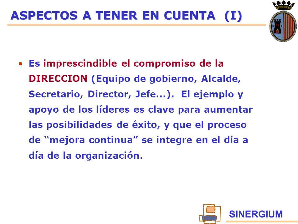 SINERGIUM ASPECTOS A TENER EN CUENTA (I) Es imprescindible el compromiso de la DIRECCION (Equipo de gobierno, Alcalde, Secretario, Director, Jefe...).