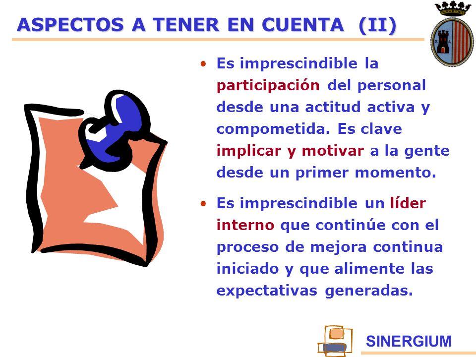 SINERGIUM ASPECTOS A TENER EN CUENTA (II) Es imprescindible la participación del personal desde una actitud activa y compometida. Es clave implicar y