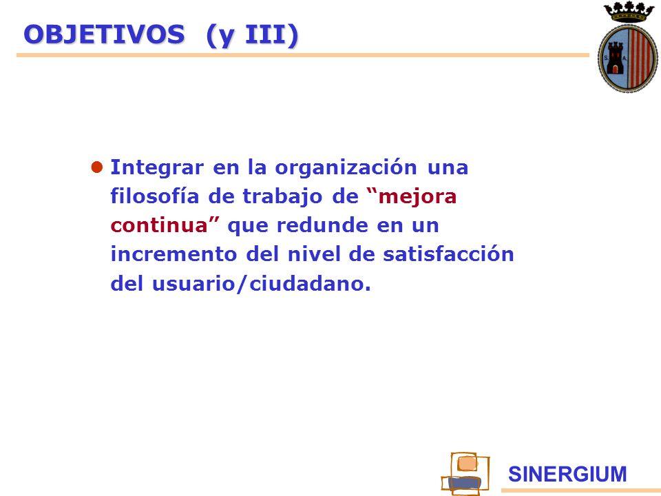 SINERGIUM OBJETIVOS (y III) Integrar en la organización una filosofía de trabajo de mejora continua que redunde en un incremento del nivel de satisfac