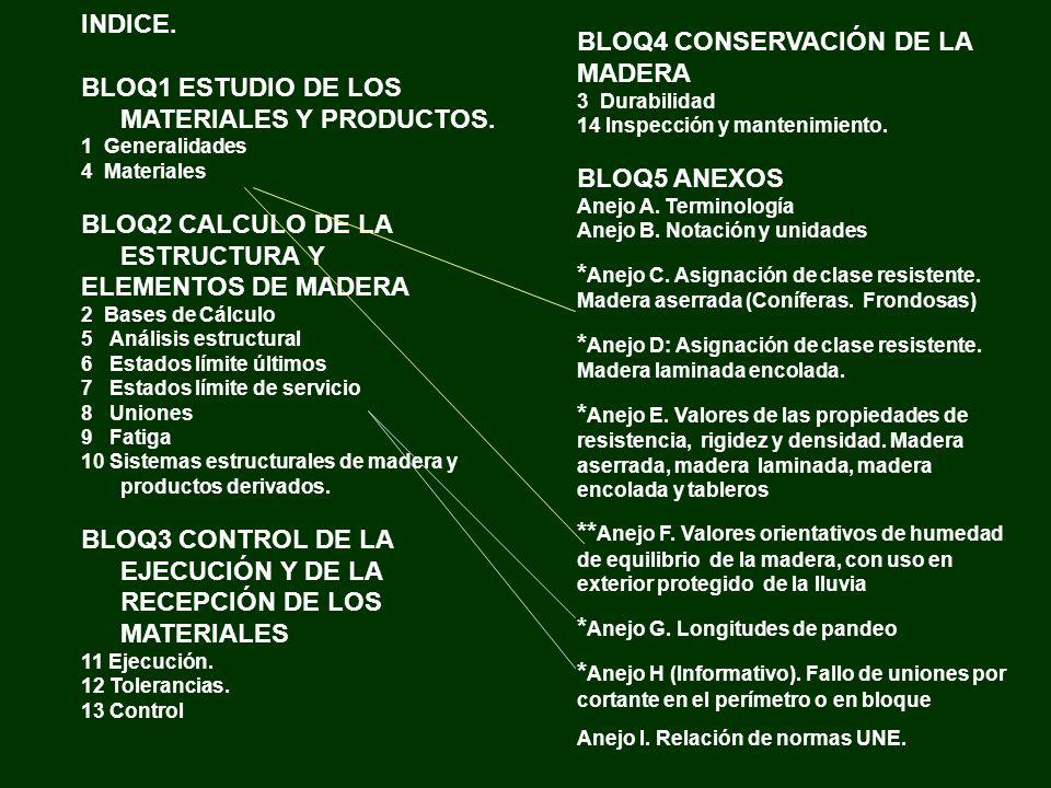 INDICE. BLOQ1 ESTUDIO DE LOS MATERIALES Y PRODUCTOS. 1 Generalidades 4 Materiales BLOQ2 CALCULO DE LA ESTRUCTURA Y ELEMENTOS DE MADERA 2 Bases de Cálc