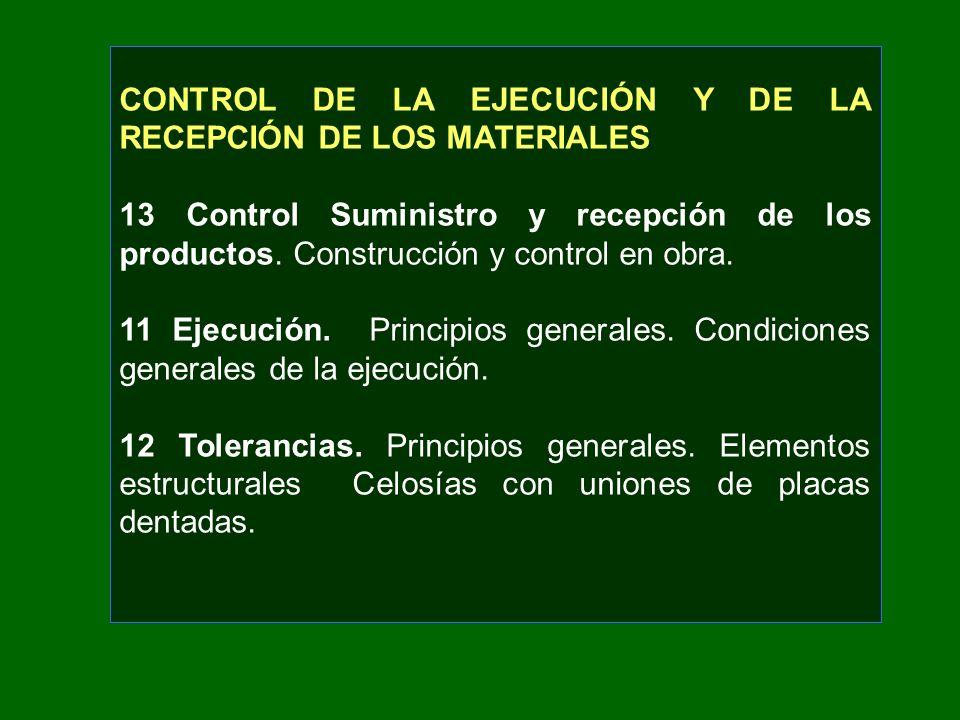 CONTROL DE LA EJECUCIÓN Y DE LA RECEPCIÓN DE LOS MATERIALES 13 Control Suministro y recepción de los productos. Construcción y control en obra. 11 Eje