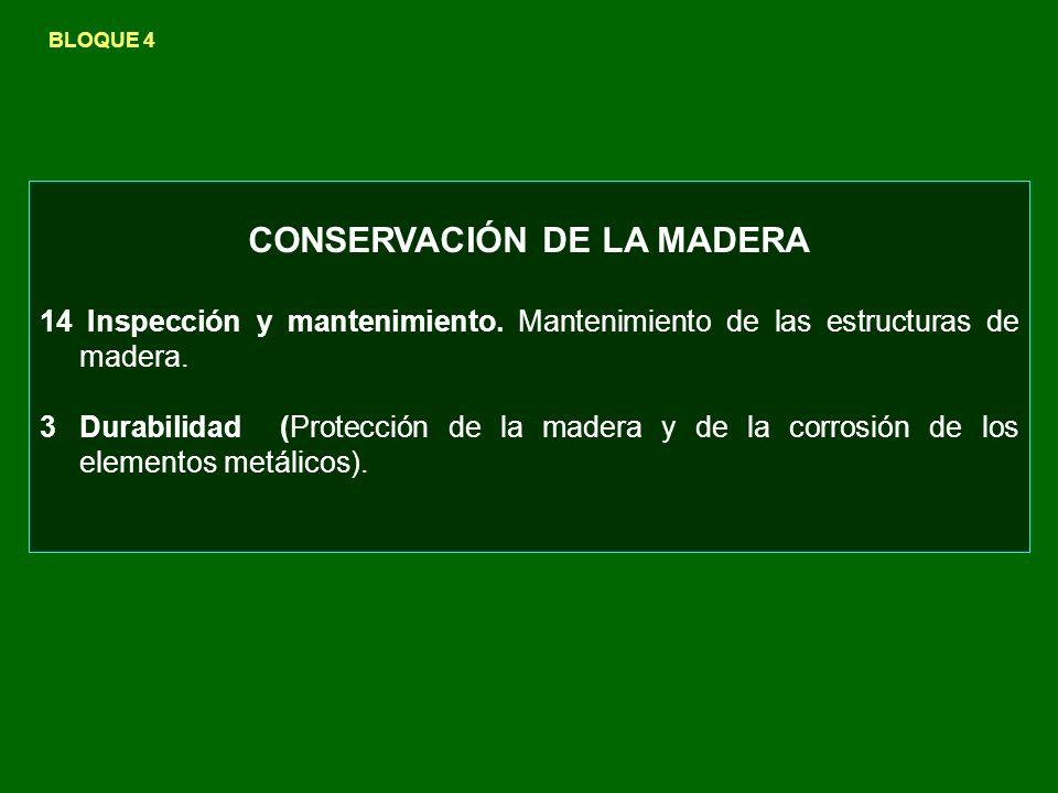 CONSERVACIÓN DE LA MADERA 14 Inspección y mantenimiento. Mantenimiento de las estructuras de madera. 3Durabilidad (Protección de la madera y de la cor