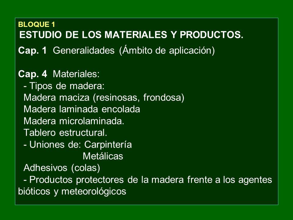 BLOQUE 1 ESTUDIO DE LOS MATERIALES Y PRODUCTOS. Cap. 1 Generalidades (Ámbito de aplicación) Cap. 4 Materiales: - Tipos de madera: Madera maciza (resin