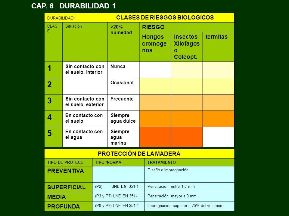 DURABILIDAD1 CLASES DE RIESGOS BIOLOGICOS CLAS E Situación >20% humedad RIESGO Hongos cromoge nos Insectos Xilofagos o Coleopt. termitas 1 Sin contact