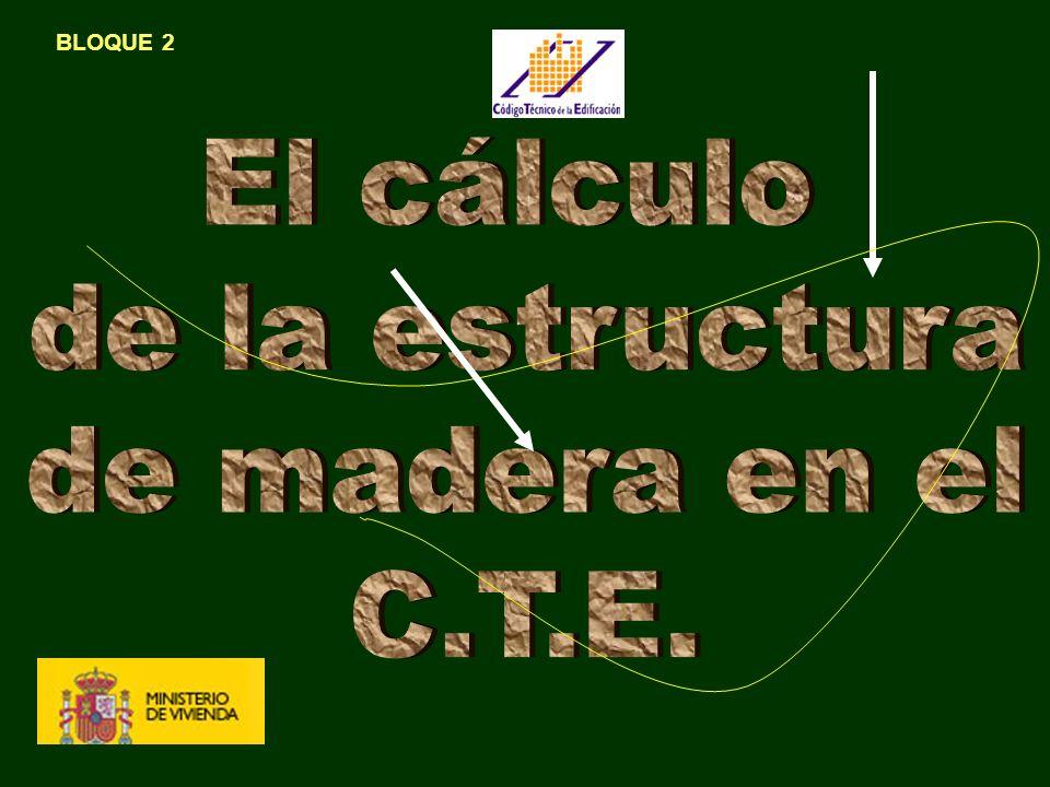 ALGUNAS PRECISIONES SOBRE EL CÁCULO Y EL DISEÑO DE LA ESTRUCTURA DE MADERA - CALCULO: Generalidades 1) Clase de servicio (I nterior, Exterior-intemperie, expuesta) 2) Clase de duración de la carga (Permante, Larga, Media, Corta, Puntual ) 3) Clase resistente de la madera (Resinosa,Frondosa, Laminada) 4) Coeficiente de seguridad (función de la duración de la carga) - Estados límite (Modelo del borrador de Eurocódigo 1985) - Pandeo (igual al acero) ( función de esbeltez y de la clase de resistente) Peculiaridades - Anisotropía: Variación de la respuesta con la dirección; - Clasificación de la madera en origen - Incendio: velocidad de carbonización - Notación compleja (sobre todo en, coeficientes y solicitaciones) - En general nudos articulados - Análisis lineal: no se considera el estado plástico - La flecha tiene componente diferida la flecha admisible en el DB SE no excluye a la madera IMPORTANTE
