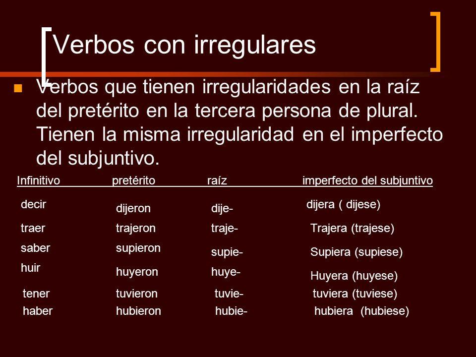 Verbos con irregulares Verbos que tienen irregularidades en la raíz del pretérito en la tercera persona de plural. Tienen la misma irregularidad en el