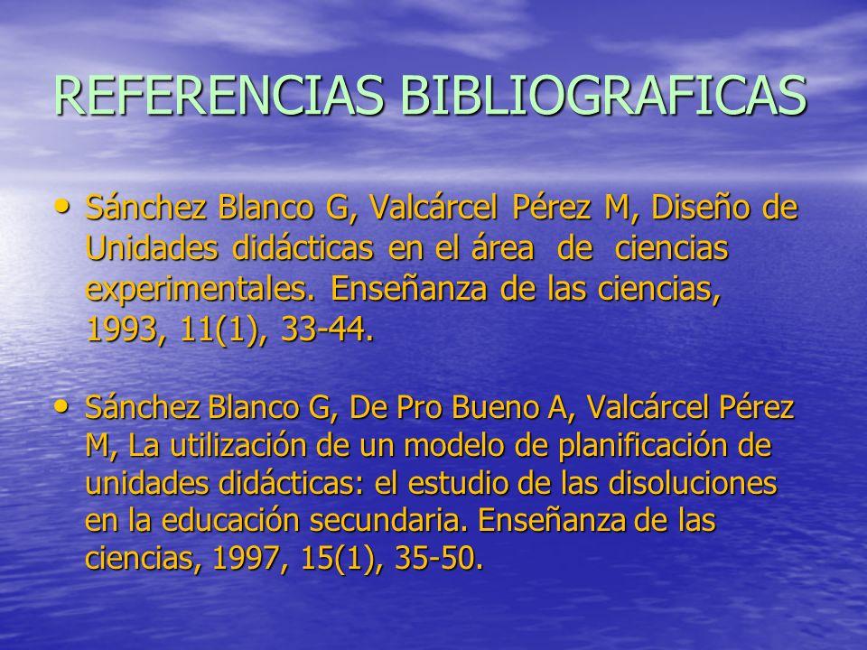 REFERENCIAS BIBLIOGRAFICAS Sánchez Blanco G, Valcárcel Pérez M, Diseño de Unidades didácticas en el área de ciencias experimentales. Enseñanza de las