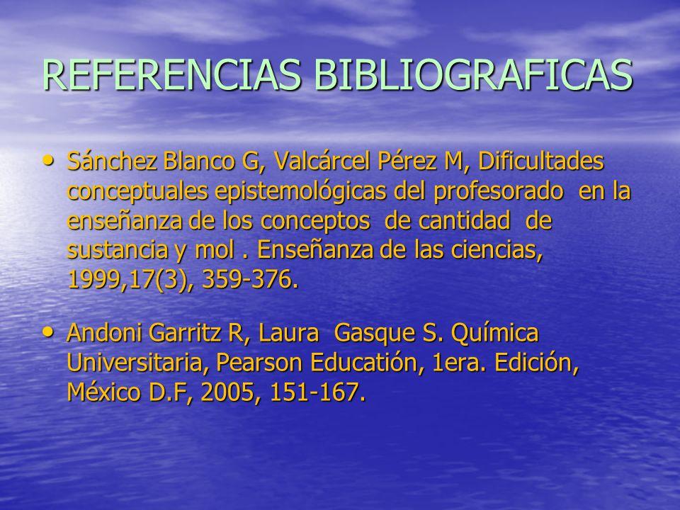 Sánchez Blanco G, Valcárcel Pérez M, Dificultades conceptuales epistemológicas del profesorado en la enseñanza de los conceptos de cantidad de sustanc