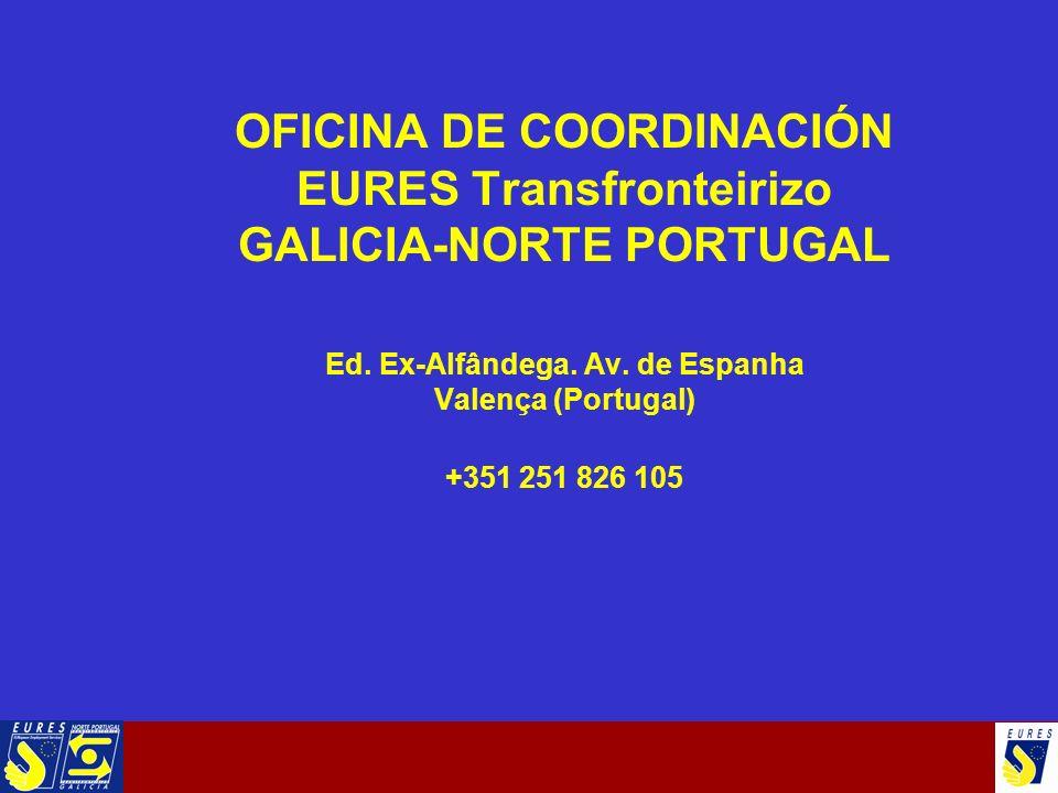 OFICINA DE COORDINACIÓN EURES Transfronteirizo GALICIA-NORTE PORTUGAL Ed. Ex-Alfândega. Av. de Espanha Valença (Portugal) +351 251 826 105