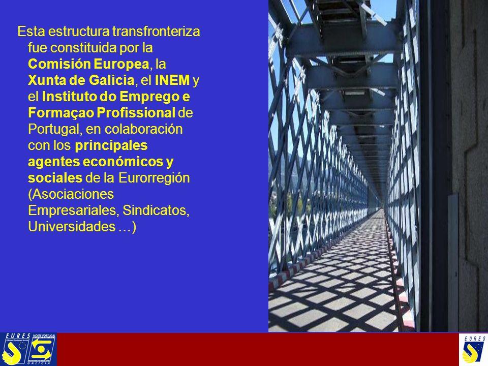 Esta estructura transfronteriza fue constituida por la Comisión Europea, la Xunta de Galicia, el INEM y el Instituto do Emprego e Formaçao Profissional de Portugal, en colaboración con los principales agentes económicos y sociales de la Eurorregión (Asociaciones Empresariales, Sindicatos, Universidades …)