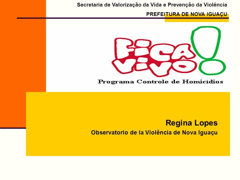 Secretaria de Valorização da Vida e Prevenção da Violência PREFEITURA DE NOVA IGUAÇU Regina Lopes Observatorio de la Violência de Nova Iguaçu