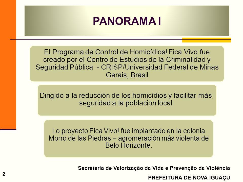 Secretaria de Valorização da Vida e Prevenção da Violência PREFEITURA DE NOVA IGUAÇU 2 El Programa de Control de Homicídios! Fica Vivo fue creado por