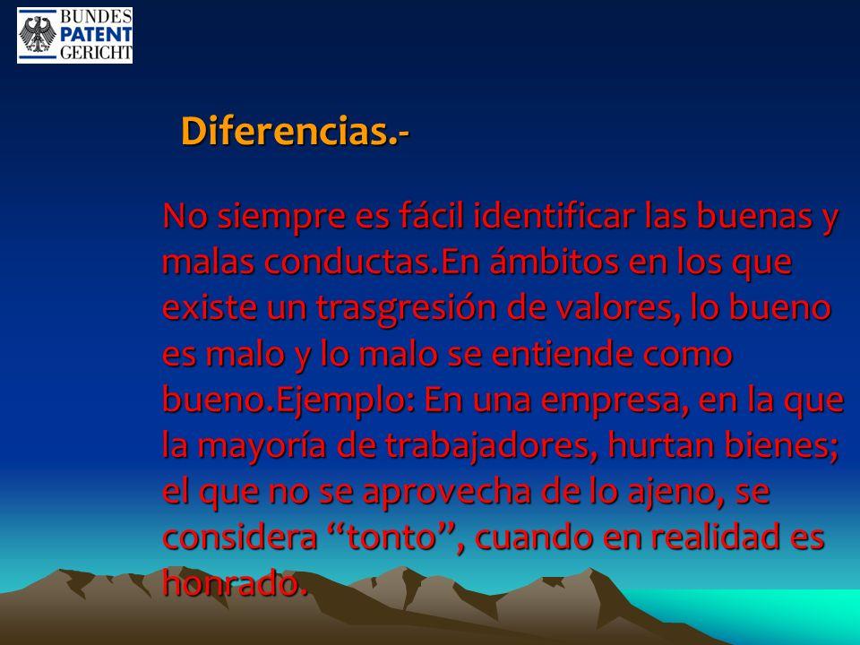 Diferencias.- Diferencias.- No siempre es fácil identificar las buenas y malas conductas.En ámbitos en los que existe un trasgresión de valores, lo bu