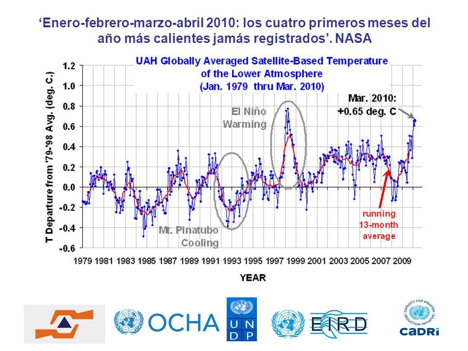 Enero-febrero-marzo-abril 2010: los cuatro primeros meses del año más calientes jamás registrados. NASA