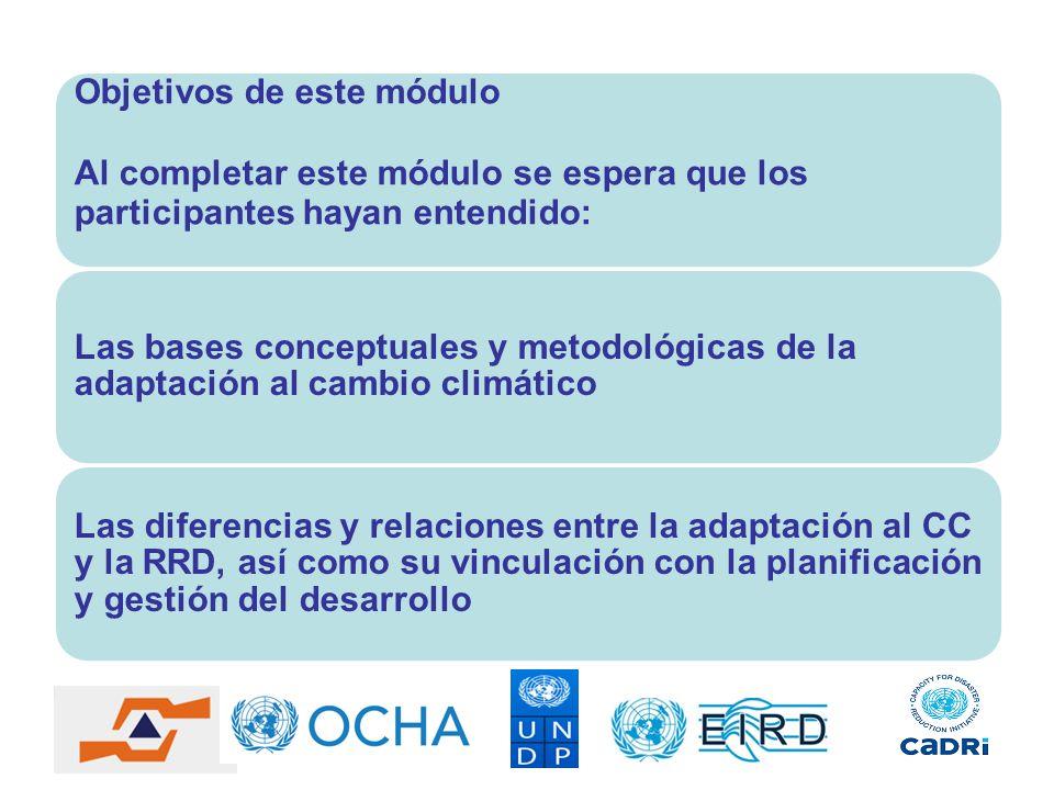Objetivos de este módulo Al completar este módulo se espera que los participantes hayan entendido: Las bases conceptuales y metodológicas de la adapta