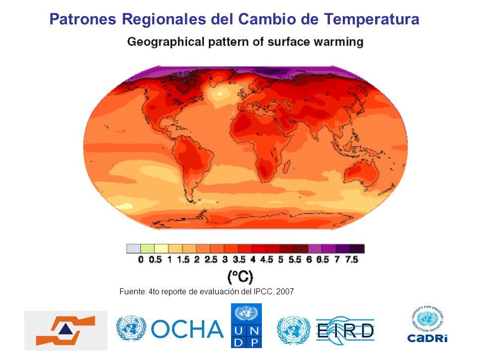 Fuente: 4to reporte de evaluación del IPCC, 2007 Patrones Regionales del Cambio de Temperatura