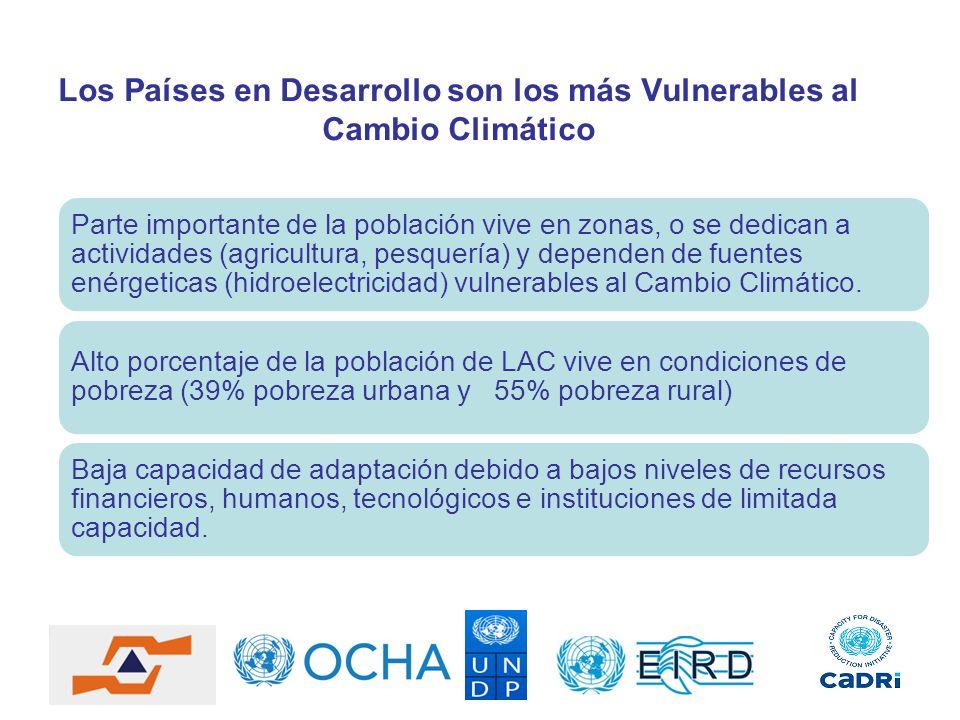Los Países en Desarrollo son los más Vulnerables al Cambio Climático Parte importante de la población vive en zonas, o se dedican a actividades (agric