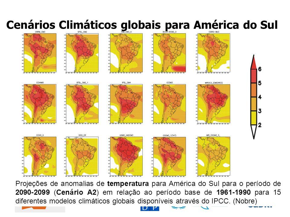 Cenários Climáticos globais para América do Sul Projeções de anomalias de temperatura para América do Sul para o período de 2090-2099 (Cenário A2) em