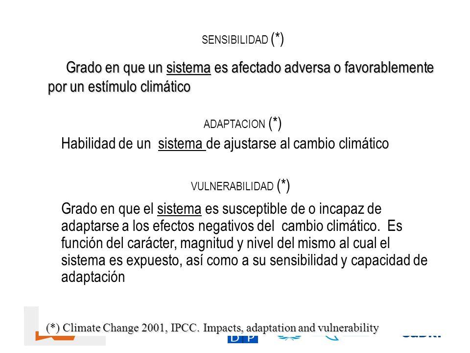 SENSIBILIDAD (*) ADAPTACION (*) Habilidad de un sistema de ajustarse al cambio climático VULNERABILIDAD (*) Grado en que el sistema es susceptible de
