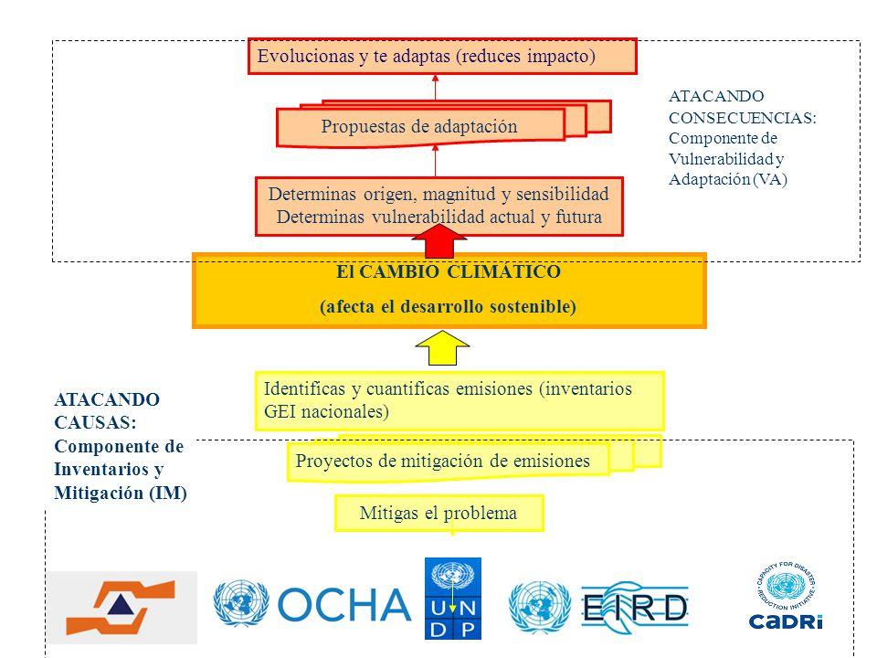 El CAMBIO CLIMÁTICO (afecta el desarrollo sostenible) Evolucionas y te adaptas (reduces impacto) Mitigas el problema Identificas y cuantificas emision
