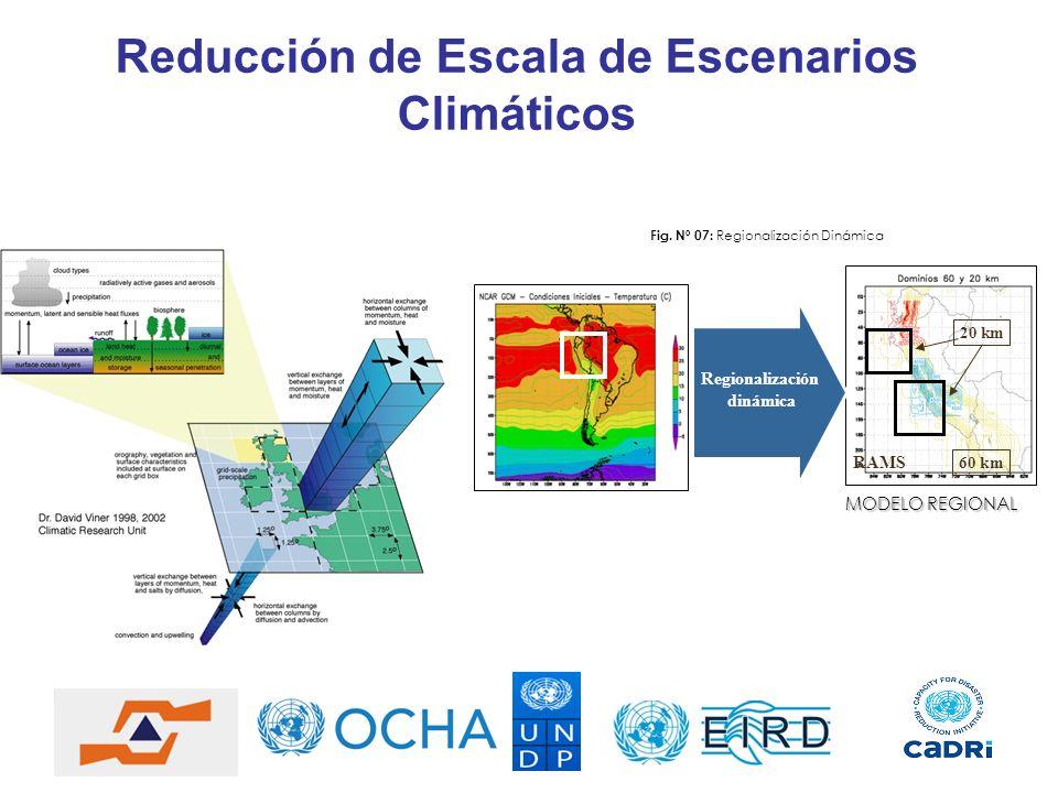 Reducción de Escala de Escenarios Climáticos Regionalización dinámica 60 km 20 km RAMS Fig. Nº 07: Regionalización Dinámica MODELO REGIONAL