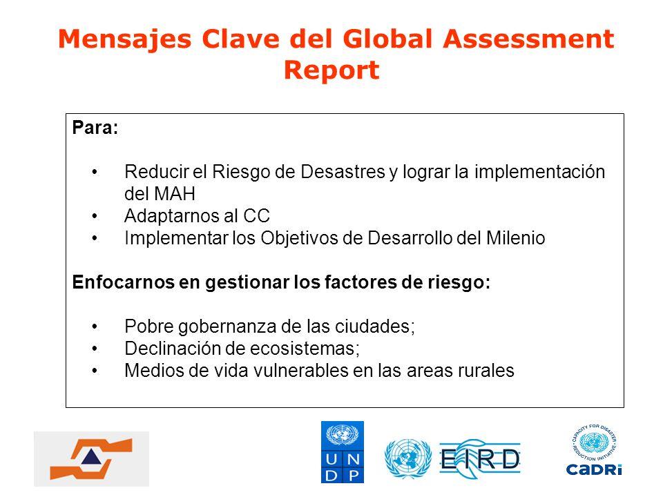 Mensajes Clave del Global Assessment Report Para: Reducir el Riesgo de Desastres y lograr la implementación del MAH Adaptarnos al CC Implementar los O