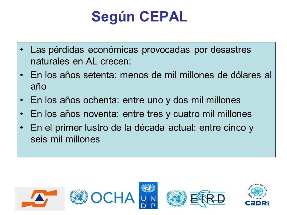 Según CEPAL Las pérdidas económicas provocadas por desastres naturales en AL crecen: En los años setenta: menos de mil millones de dólares al año En l