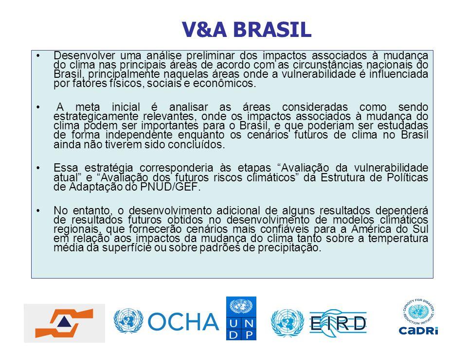 V&A BRASIL Desenvolver uma análise preliminar dos impactos associados à mudança do clima nas principais áreas de acordo com as circunstâncias nacionai
