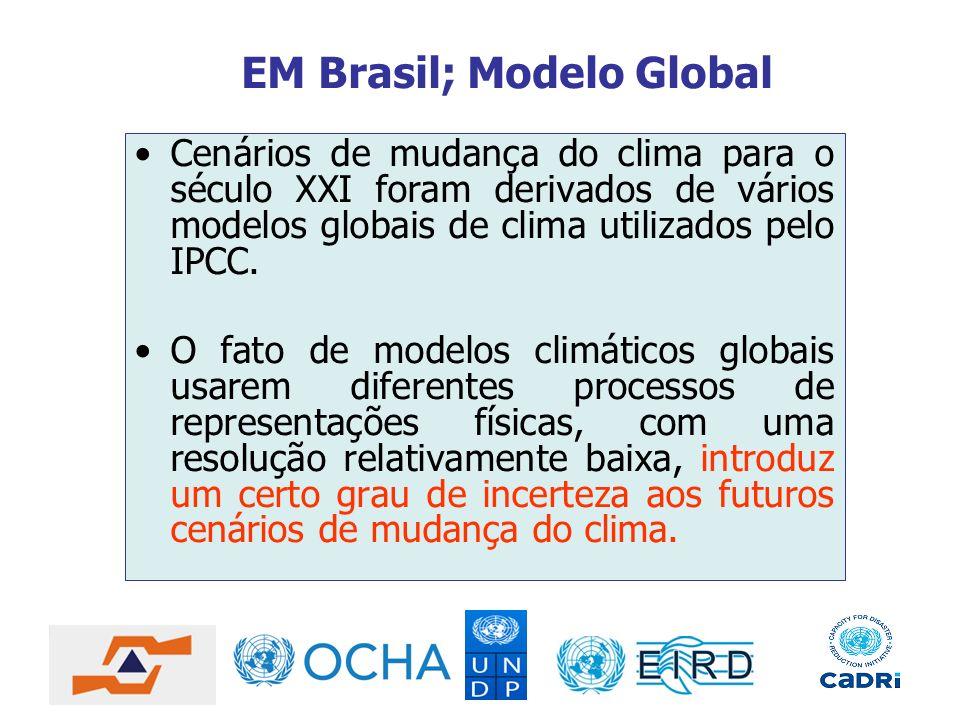 EM Brasil; Modelo Global Cenários de mudança do clima para o século XXI foram derivados de vários modelos globais de clima utilizados pelo IPCC. O fat