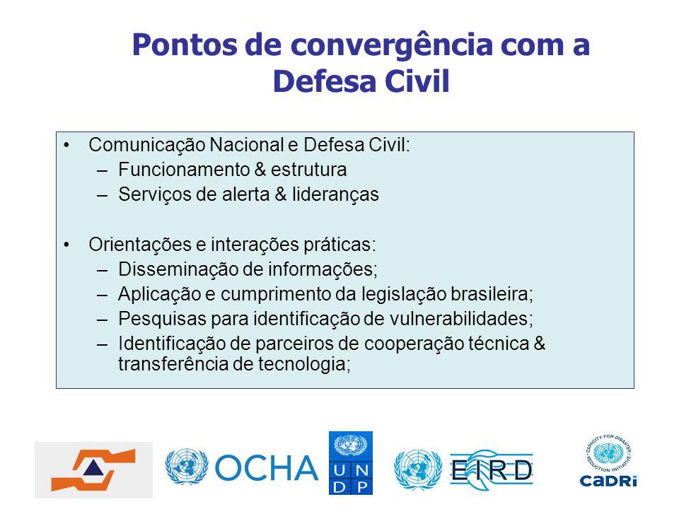 Pontos de convergência com a Defesa Civil Comunicação Nacional e Defesa Civil: –Funcionamento & estrutura –Serviços de alerta & lideranças Orientações