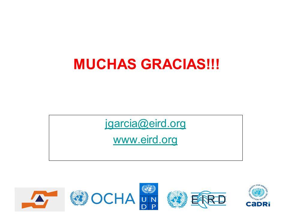 MUCHAS GRACIAS!!! jgarcia@eird.org www.eird.org
