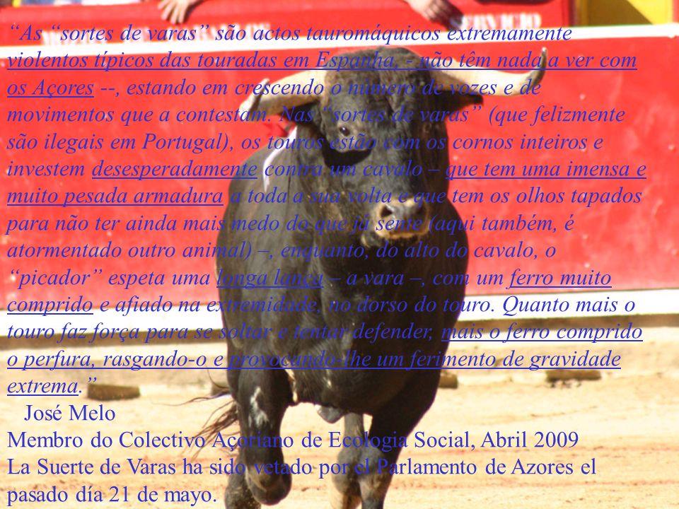 As sortes de varas são actos tauromáquicos extremamente violentos típicos das touradas em Espanha, - não têm nada a ver com os Açores --, estando em c