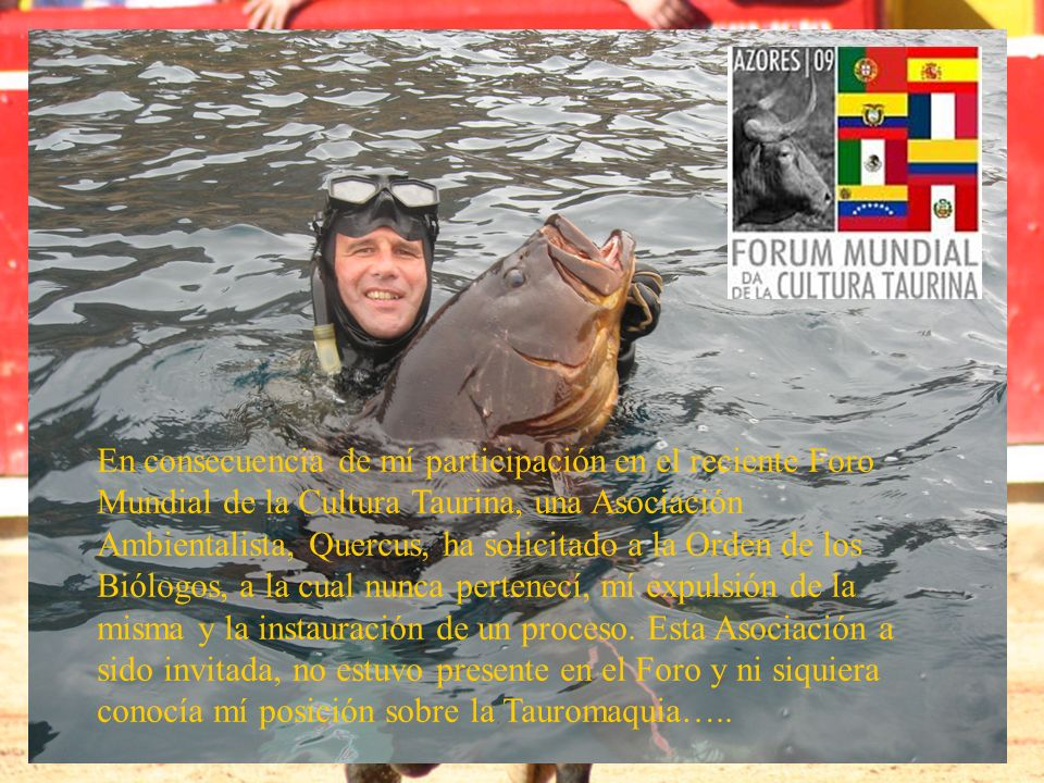 En consecuencia de mí participación en el reciente Foro Mundial de la Cultura Taurina, una Asociación Ambientalista, Quercus, ha solicitado a la Orden