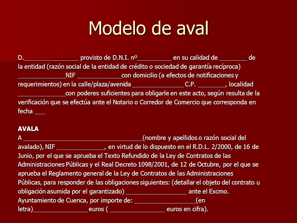 Modelo de aval D.________________ provisto de D.N.I.