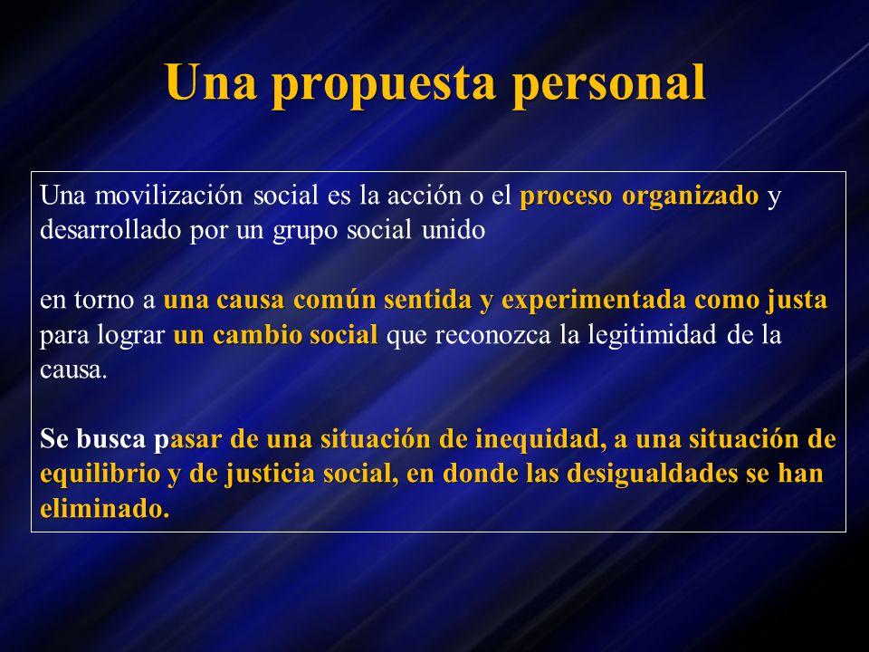 Una propuesta personal proceso organizado Una movilización social es la acción o el proceso organizado y desarrollado por un grupo social unido una ca