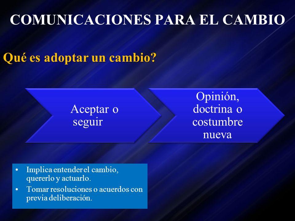 COMUNICACIONES PARA EL CAMBIO Implica entender el cambio, quererlo y actuarlo. Tomar resoluciones o acuerdos con previa deliberación. Qué es adoptar u