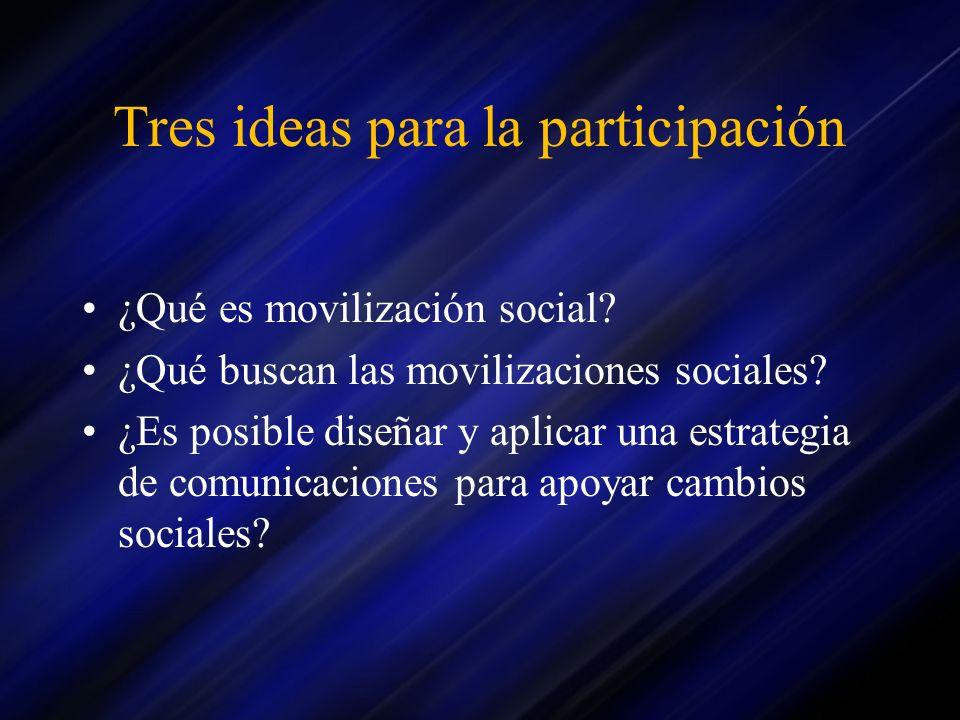 Tres ideas para la participación ¿Qué es movilización social? ¿Qué buscan las movilizaciones sociales? ¿Es posible diseñar y aplicar una estrategia de