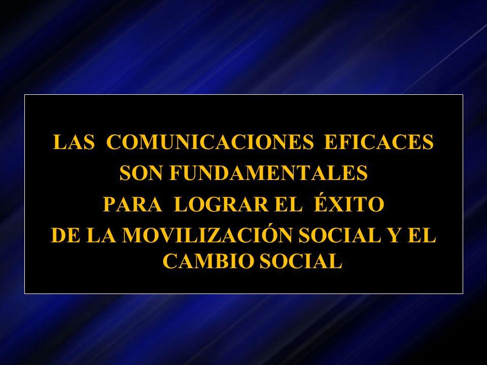 LAS COMUNICACIONES EFICACES SON FUNDAMENTALES PARA LOGRAR EL ÉXITO DE LA MOVILIZACIÓN SOCIAL Y EL CAMBIO SOCIAL