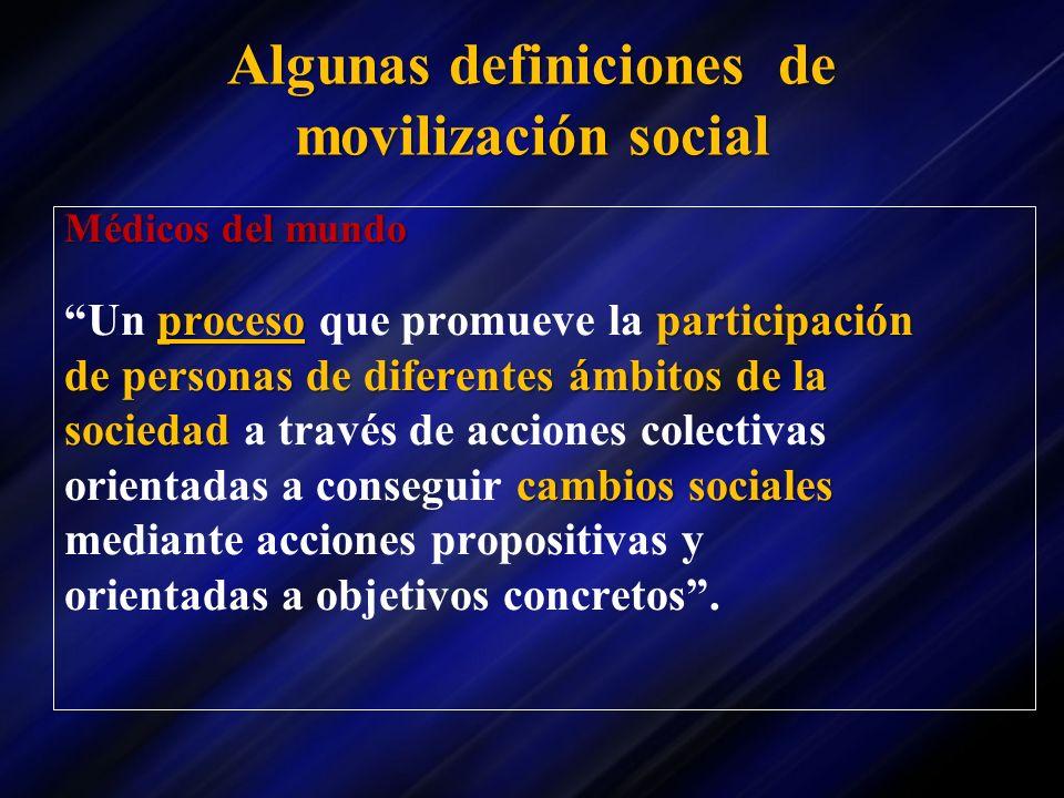 Algunas definiciones de movilización social Médicos del mundo procesoparticipación Un proceso que promueve la participación de personas de diferentes